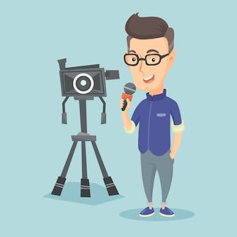 マイクとカメラ付きのテレビ記者。