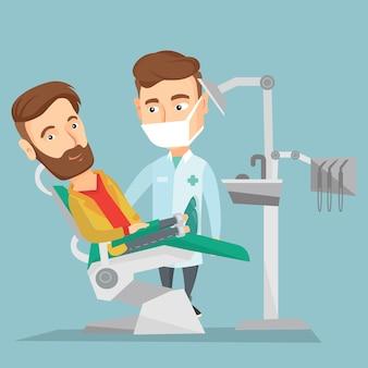 歯科医のオフィスで患者と医師。