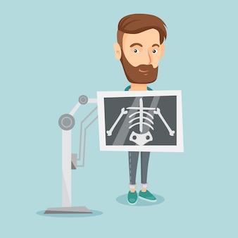 Пациент во время рентгеновской процедуры векторные иллюстрации