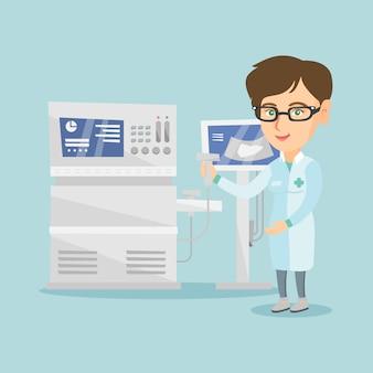 超音波装置を持つ若い超音波医師。