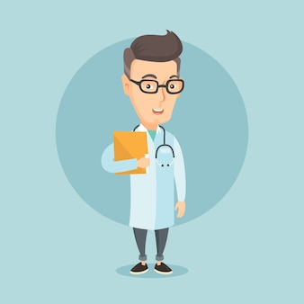 診療所のファイルを持つ医師。