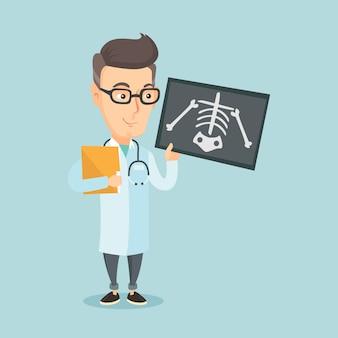 Доктор следственный рентгенограмма векторные иллюстрации.