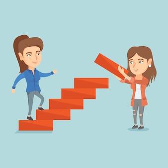 若い実業家がキャリアのはしごを実行します。