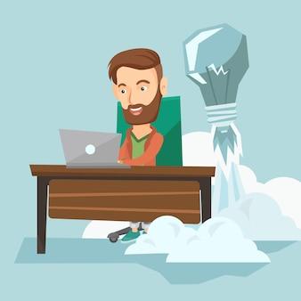 Успешный бизнес идея векторные иллюстрации.