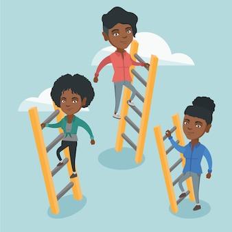 成功するために登るアフリカのビジネス人々。