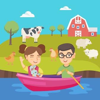 幸せな白人の男の子と女の子がボートで旅行します。