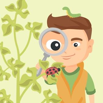 てんとう虫で虫眼鏡を通して見る少年。