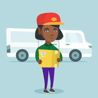 箱を持ってアフリカ系アメリカ人の宅配便。