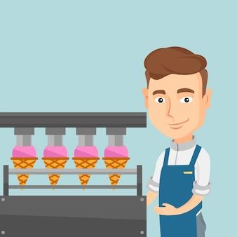 Работник завода по производству мороженого.