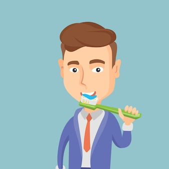 彼の歯のベクトル図を磨く男。
