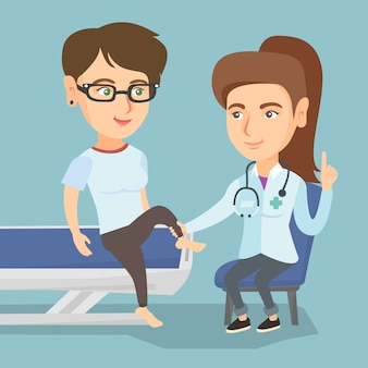 白人のジムの医師が患者の足首をチェックします。