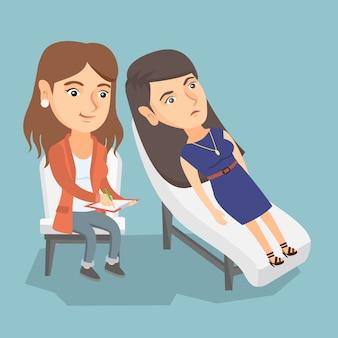 患者とのセッションを持つ白人心理学者