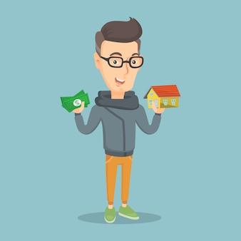 Кавказский человек, покупая дом благодаря кредиту.