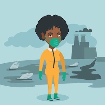 放射線防護服を着ている科学者。