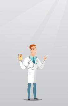 心拍を測定するための医者を示すアプリ。