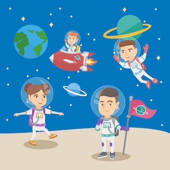 宇宙飛行士で遊んでいる小さな子供たちのグループ