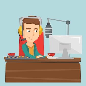Мужской ди-джей работает на радио векторная иллюстрация