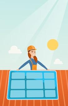 ソーラーパネルを取り付ける建設業者。