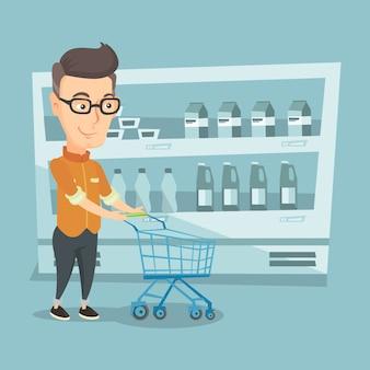 ショッピングカートのベクトル図を持つ顧客。