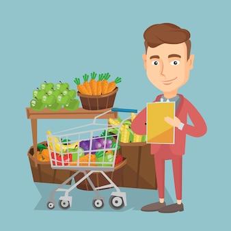 ショッピングリストのベクトル図を持つ男。