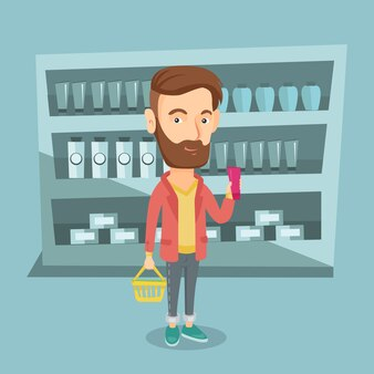 ショッピングバスケットとクリームのチューブを持つ顧客。