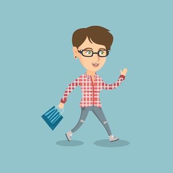販売中の店に急いで走っている女性。