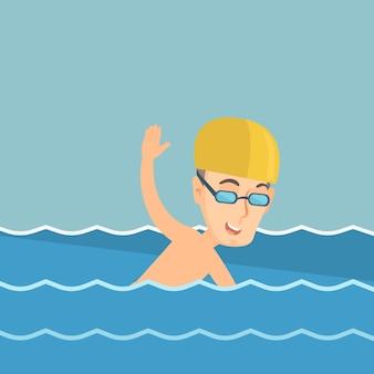 ベクトル図を泳ぐ男。