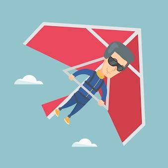 ハンググライダーのベクトル図に飛んでいる男。