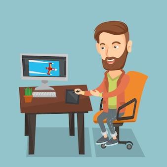 デジタルグラフィックタブレットを使用するデザイナー。