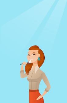 彼女の歯を磨く女性はベクトルイラストです。
