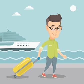 Пассажир собирается на борт судна с чемоданом.