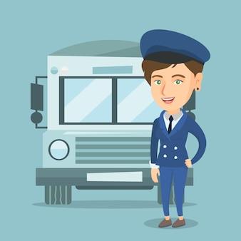 若い白人女性のスクールバスの運転手。