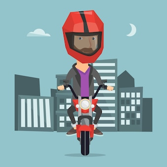 夜のベクトル図でバイクに乗る男