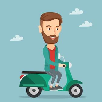 Человек езда скутер векторные иллюстрации.