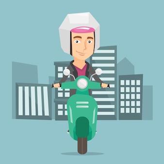 Человек верхом на скутере в городе векторная иллюстрация