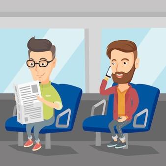 公共交通機関で旅行する人々。