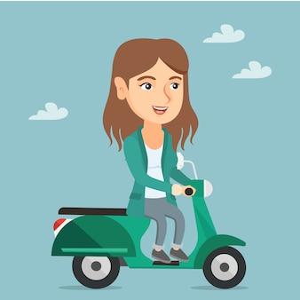 Молодая кавказская женщина ехать самокат