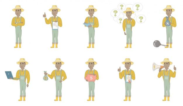 アフリカ系アメリカ人の農家のキャラクターセット
