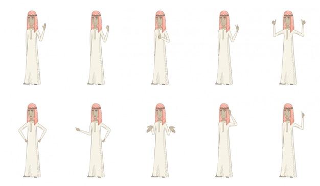 若いイスラム教徒の男性キャラクターセット