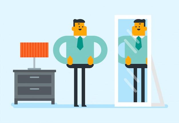 鏡で自分自身を見ている実業家。