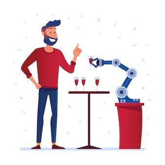 ロボットハンドが男にワインを提供