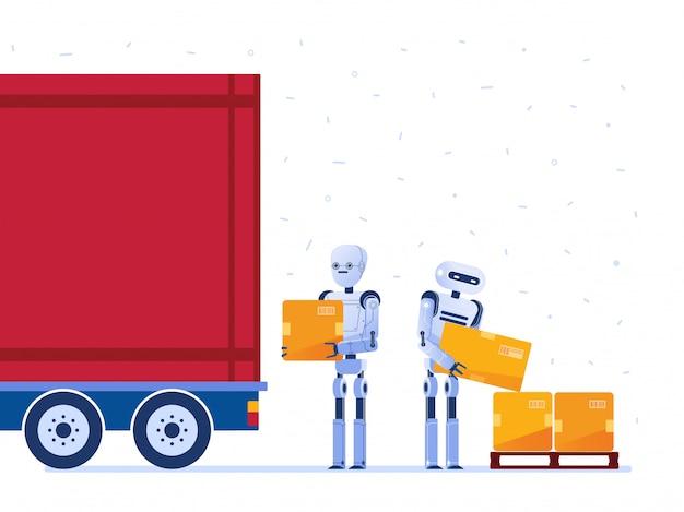 倉庫のロボット労働者がボックスでトラックを読み込みます。