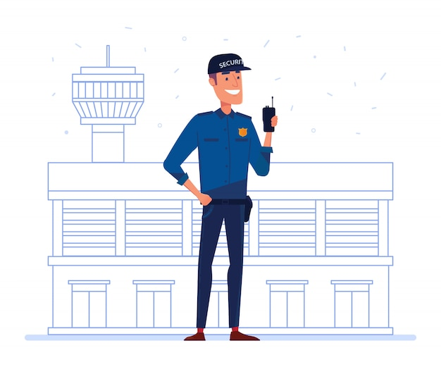 空港の建物の前にポータブルラジオを持つセキュリティ会社の従業員。