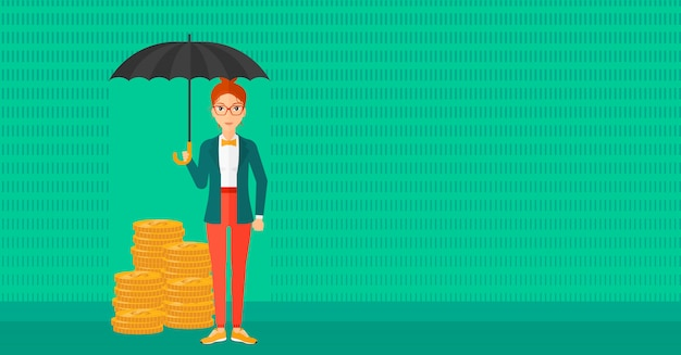 お金を保護する傘を持つ女性。