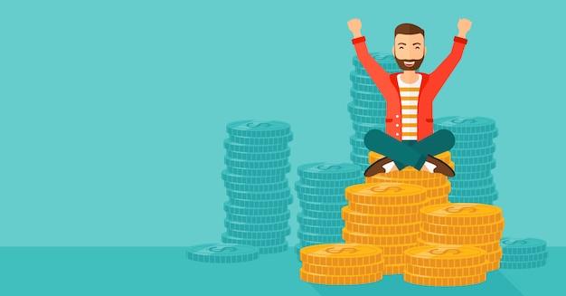 Счастливый бизнесмен сидит на монетах.