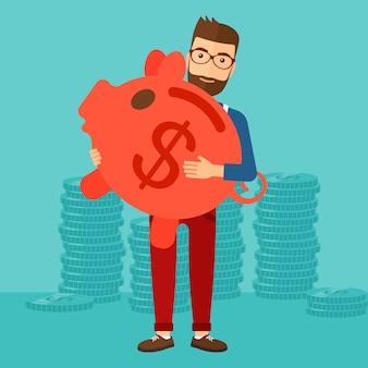 貯金箱を運ぶ男。