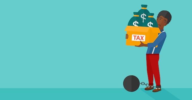 税金でいっぱいのバッグを持つ連鎖男。