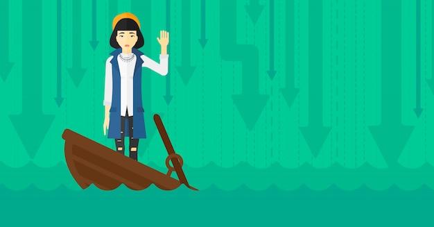 沈没船に立っているビジネス女性。