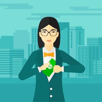 ポケットにお金を入れて女性。