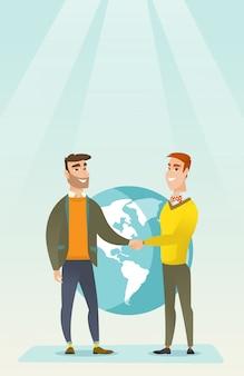 Деловые партнеры пожимают друг другу руки.